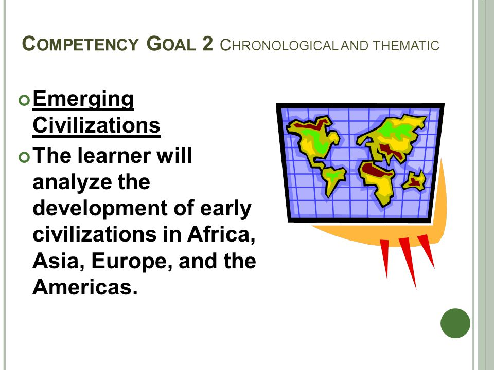 C OMPETENCY G OAL 2 C HRONOLOGICAL AND THEMATIC Emerging Civilizations The learner will analyze the development of early civilizations in Africa, Asia, Europe, and the Americas.