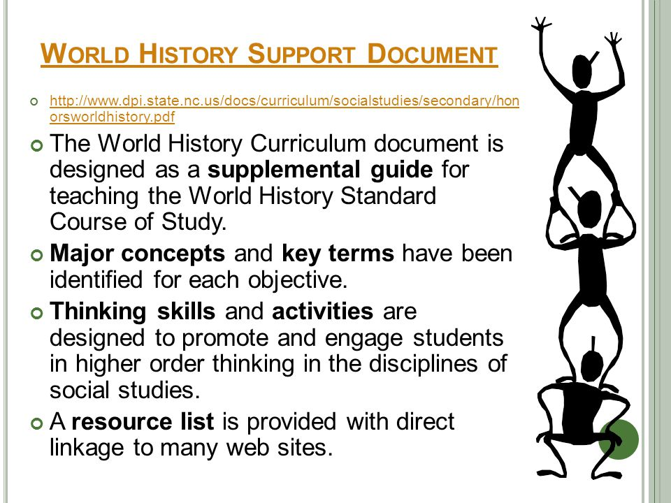 W ORLD H ISTORY S UPPORT D OCUMENT http://www.dpi.state.nc.us/docs/curriculum/socialstudies/secondary/hon orsworldhistory.pdf The World History Curriculum document is designed as a supplemental guide for teaching the World History Standard Course of Study.