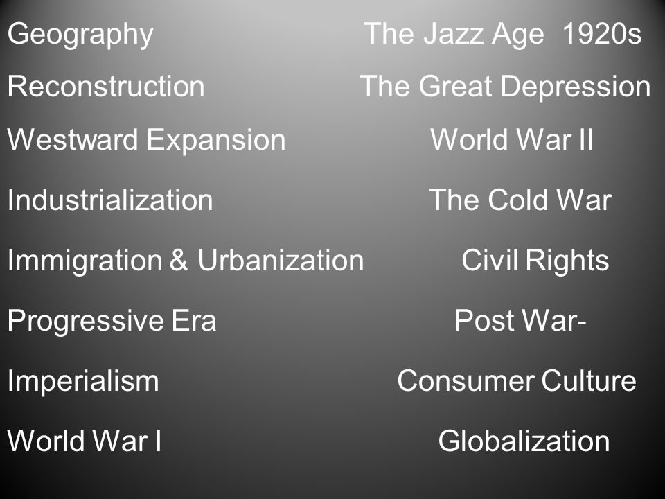 Geography The Jazz Age 1920s Reconstruction The Great Depression Westward Expansion World War II Industrialization The Cold War Immigration & Urbaniza