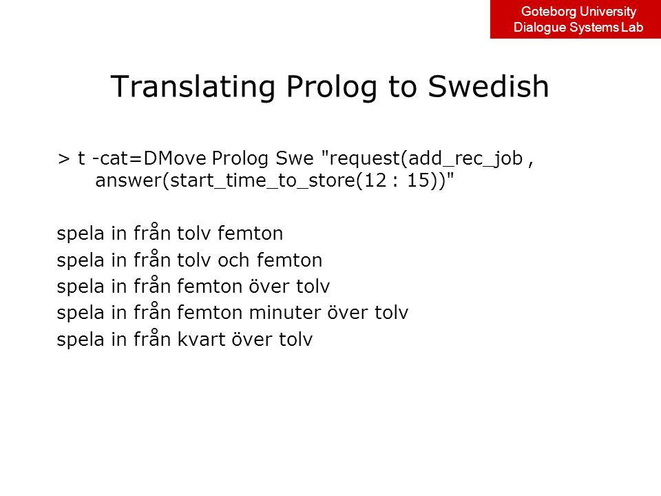 Goteborg University Dialogue Systems Lab Translating Prolog to Swedish > t -cat=DMove Prolog Swe request(add_rec_job, answer(start_time_to_store(12 : 15)) spela in från tolv femton spela in från tolv och femton spela in från femton över tolv spela in från femton minuter över tolv spela in från kvart över tolv