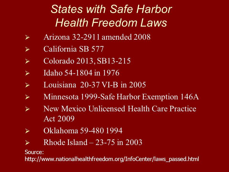States with Safe Harbor Health Freedom Laws   Arizona 32-2911 amended 2008   California SB 577   Colorado 2013, SB13-215   Idaho 54-1804 in 19