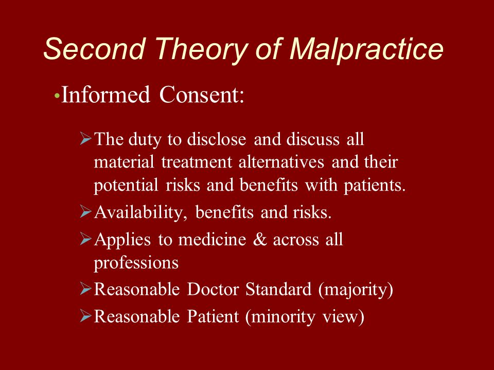 Second Theory of Malpractice Informed Consent:   The duty to disclose and discuss all material treatment alternatives and their potential risks and benefits with patients.