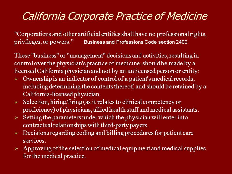 California Corporate Practice of Medicine