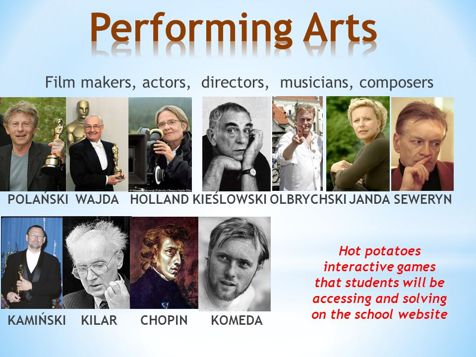 Film makers, actors, directors, musicians, composers POLAŃSKI WAJDA HOLLAND KIEŚLOWSKI OLBRYCHSKI JANDA SEWERYN KAMIŃSKI KILAR CHOPIN KOMEDA Hot potatoes interactive games that students will be accessing and solving on the school website