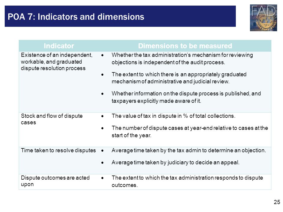 25 IndicatorDimensions to be measured Existence of an independent, workable, and graduated dispute resolution process  Whether the tax administration