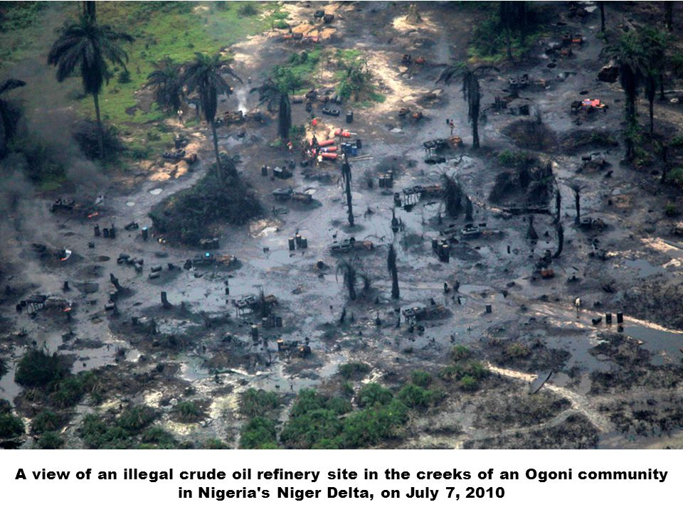 A view of an illegal crude oil refinery site in the creeks of an Ogoni community in Nigeria's Niger Delta, on July 7, 2010
