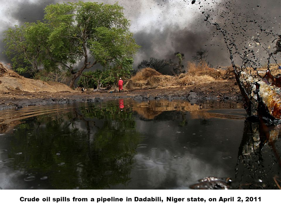 Crude oil spills from a pipeline in Dadabili, Niger state, on April 2, 2011