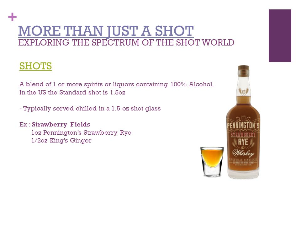 + MORE THAN JUST A SHOT EXPLORING THE SPECTRUM OF THE SHOT WORLD SHOTS A blend of 1 or more spirits or liquors containing 100% Alcohol.