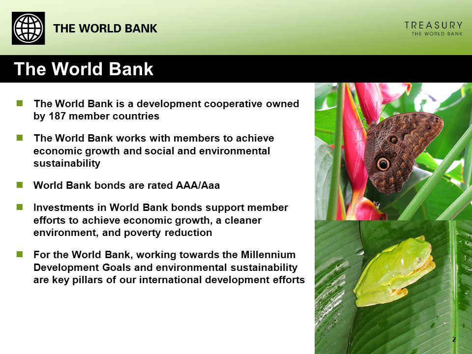 The World Bank The World Bank is a development cooperative owned by 187 member countries The World Bank works with members to achieve economic growth and social and environmental sustainability World Bank bonds are rated AAA/Aaa Investments in World Bank bonds support member efforts to achieve economic growth, a cleaner environment, and poverty reduction For the World Bank, working towards the Millennium Development Goals and environmental sustainability are key pillars of our international development efforts 2