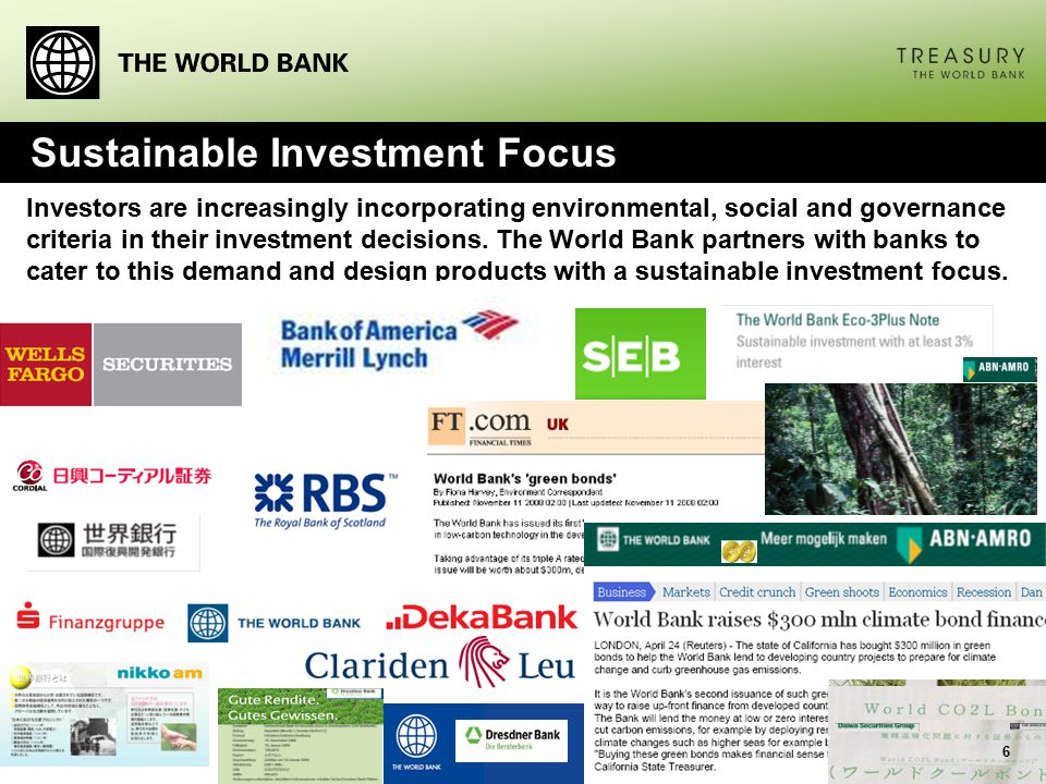 Sustainable Investment Focus Investors are increasingly incorporating environmental, social and governance criteria in their investment decisions.