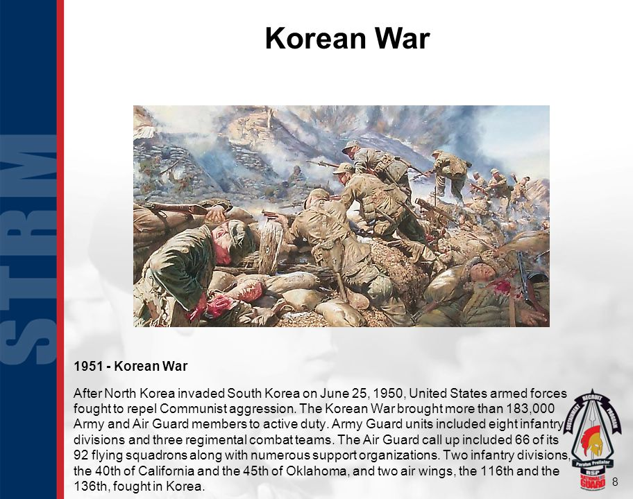 8 Korean War 1951 - Korean War After North Korea invaded South Korea on June 25, 1950, United States armed forces fought to repel Communist aggression.