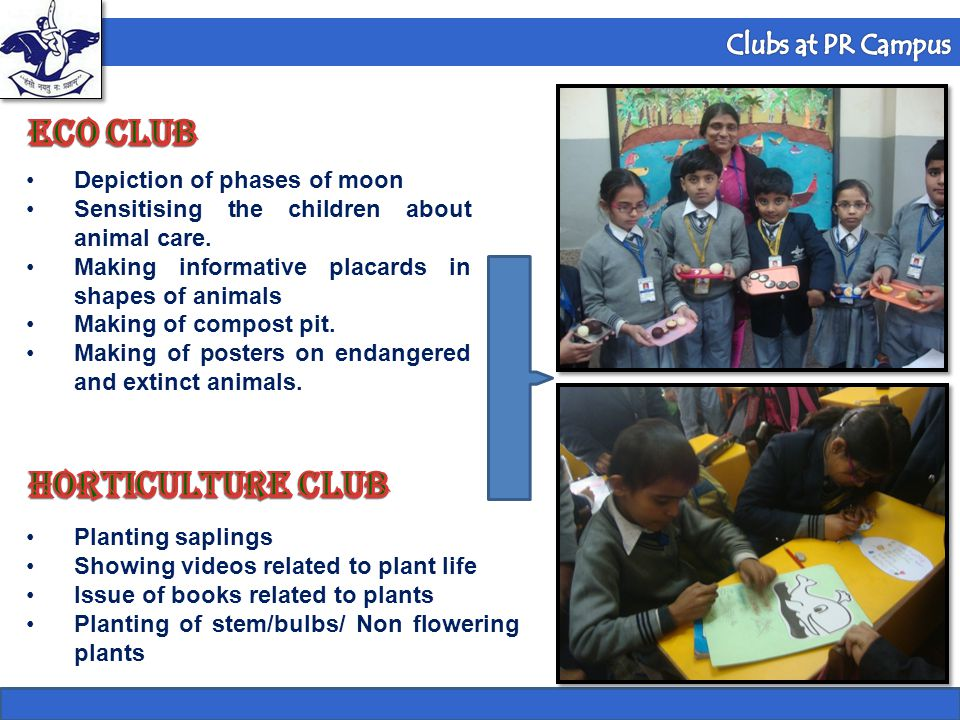 Formula 1 Club Depiction of phases of moon Sensitising the children about animal care. Making informative placards in shapes of animals Making of comp