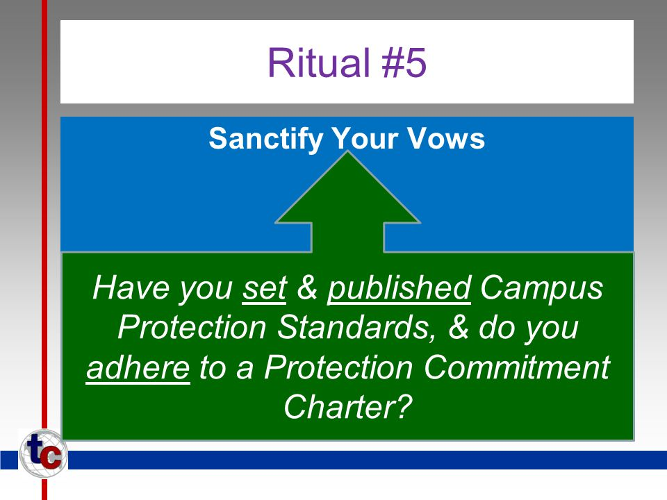 Ritual #5 Sanctify Your Vows Have you set & published Campus Protection Standards, & do you adhere to a Protection Commitment Charter