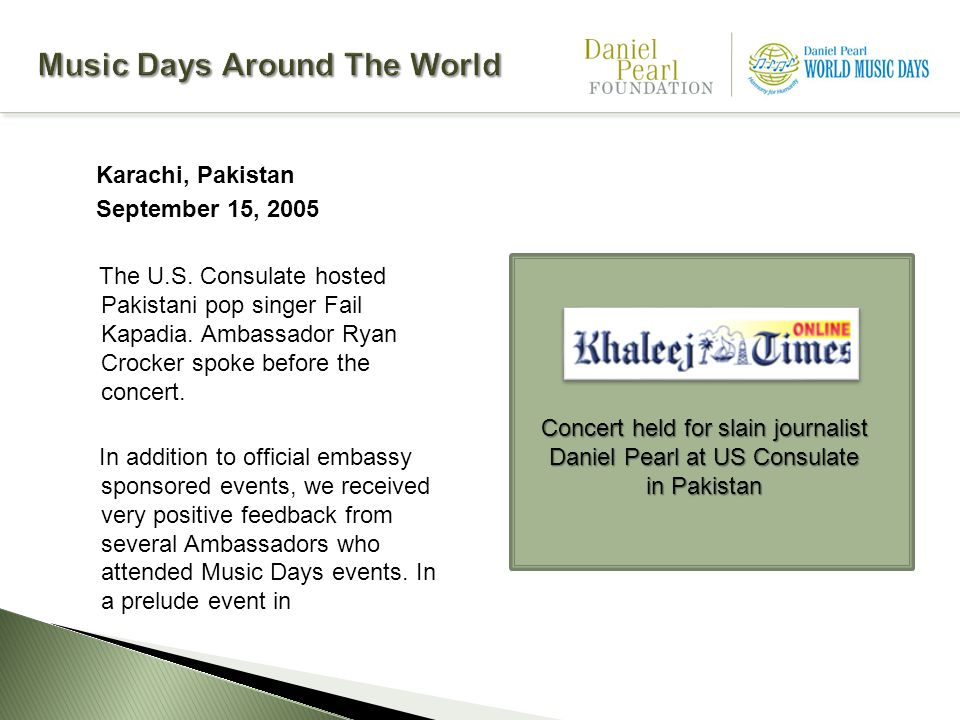 Karachi, Pakistan September 15, 2005 The U.S. Consulate hosted Pakistani pop singer Fail Kapadia.