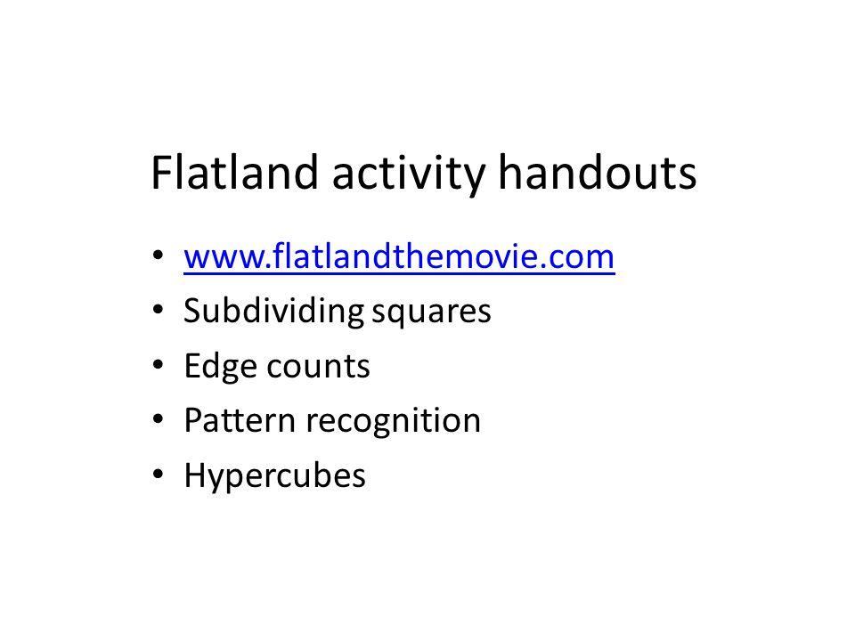 Flatland activity handouts www.flatlandthemovie.com Subdividing squares Edge counts Pattern recognition Hypercubes