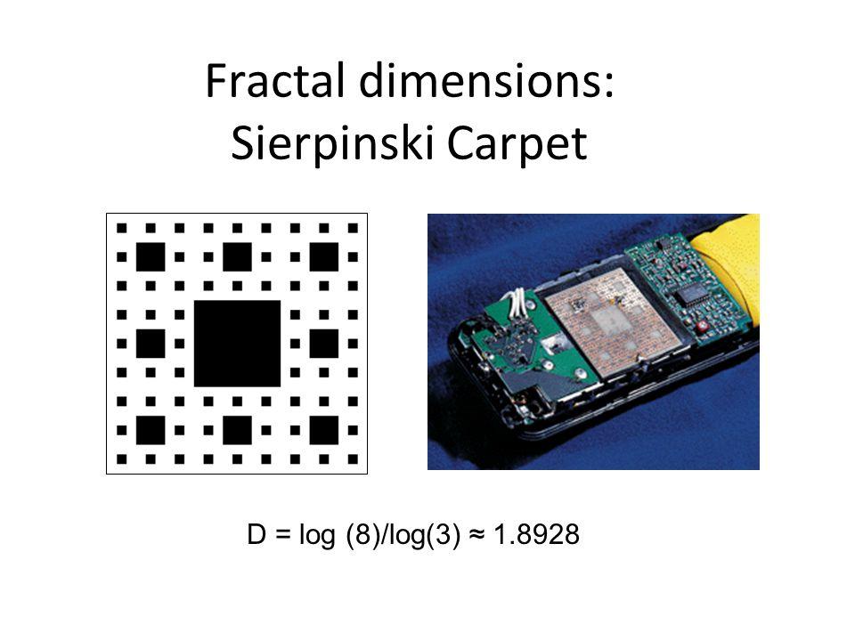 Fractal dimensions: Sierpinski Carpet D = log (8)/log(3) ≈ 1.8928