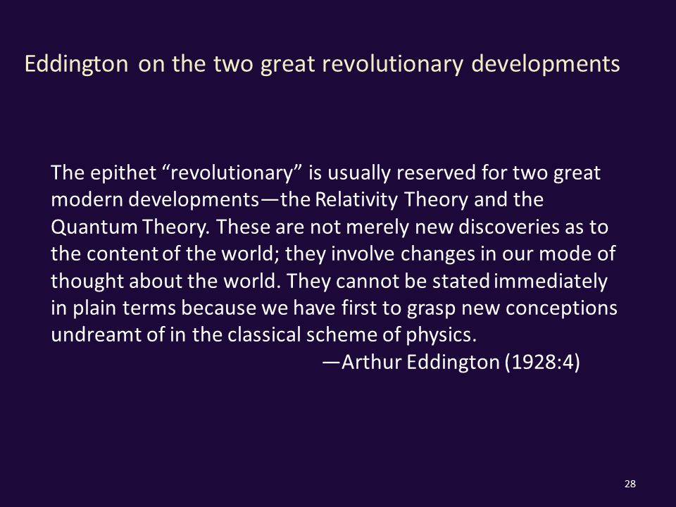 Eddington on the two great revolutionary developments 28 The epithet revolutionary is usually reserved for two great modern developments—the Relativity Theory and the Quantum Theory.