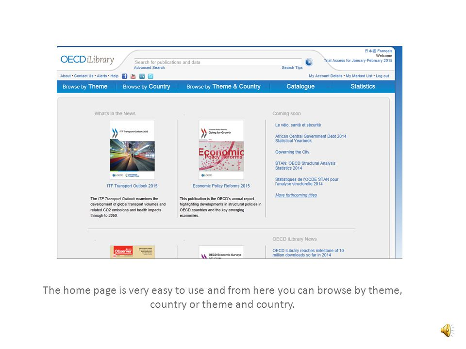 The OECD iLibrary is a research based database upon which all the books, journals, papers and statistics produced by the OECD are available to access via an annual Subscription.