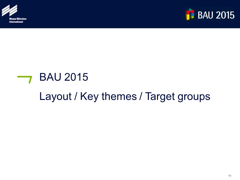 11 BAU 2015 Layout / Key themes / Target groups