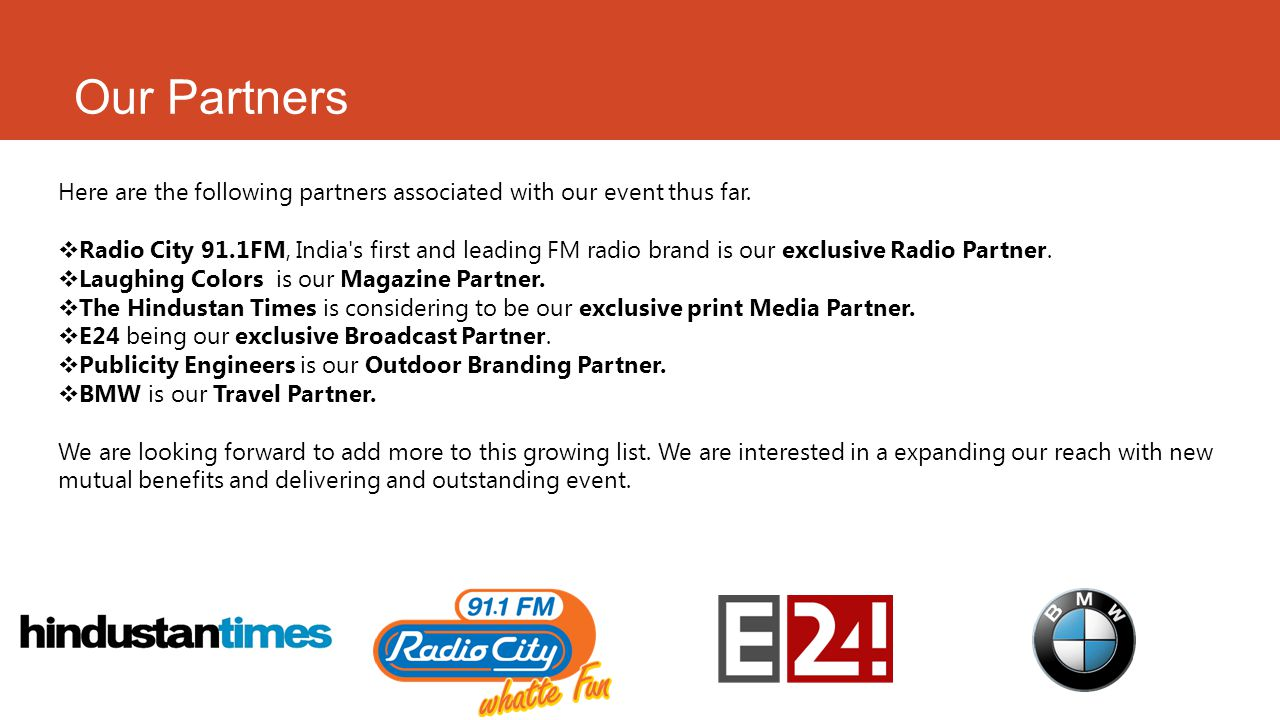 Our Partners Here are the following partners associated with our event thus far.