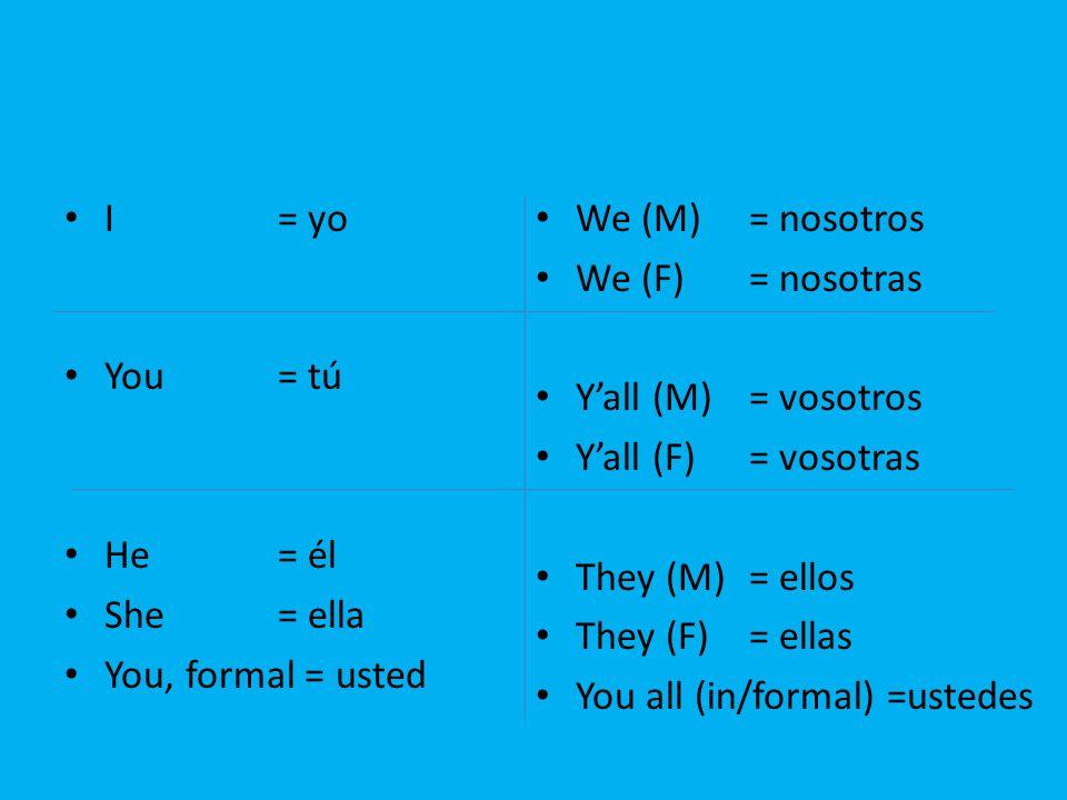 I= yo You= tú He= él She= ella You, formal = usted We (M)= nosotros We (F)= nosotras Y'all (M)= vosotros Y'all (F)= vosotras They (M)= ellos They (F)= ellas You all (in/formal) =ustedes