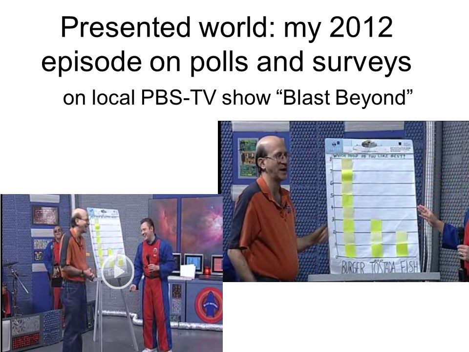 Presented world: my 2012 episode on polls and surveys on local PBS-TV show Blast Beyond