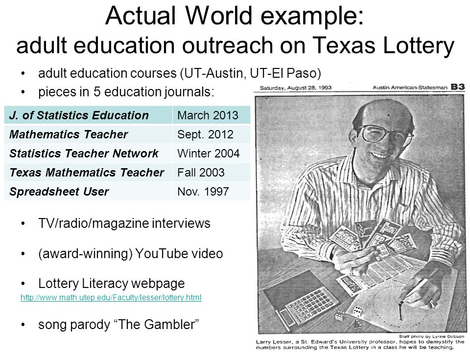 Actual World example: adult education outreach on Texas Lottery adult education courses (UT-Austin, UT-El Paso) pieces in 5 education journals: TV/radio/magazine interviews (award-winning) YouTube video Lottery Literacy webpage   song parody The Gambler J.