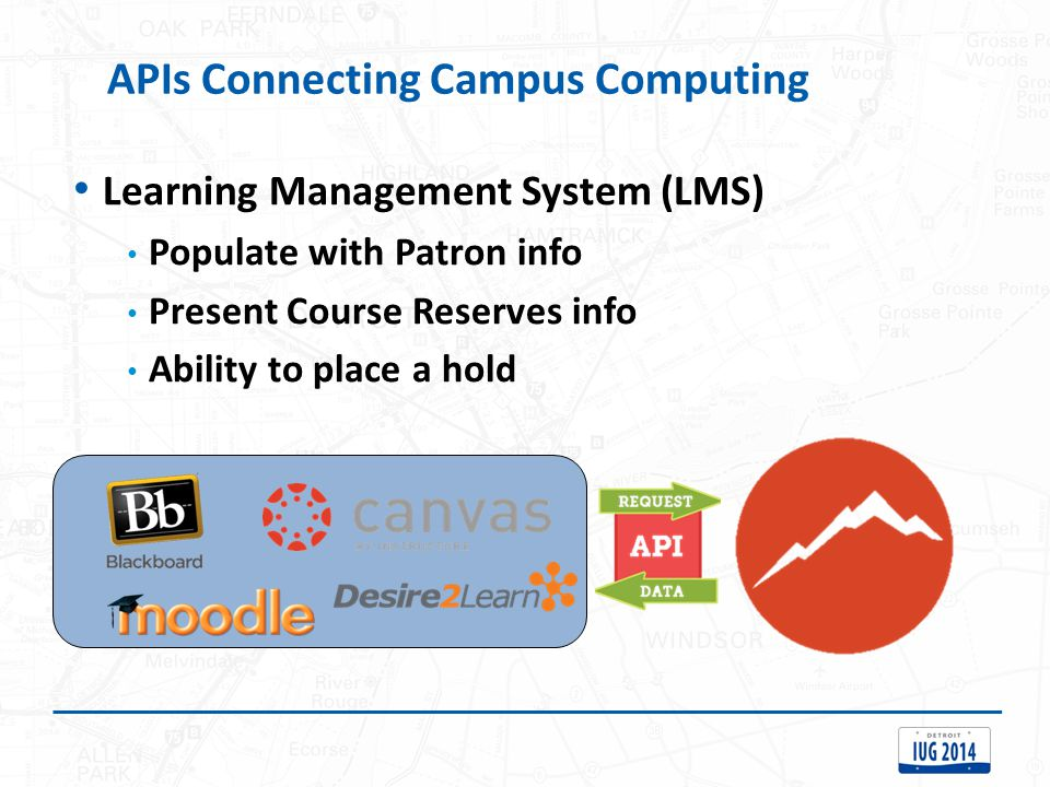 Learning Management System (LMS) Populate with Patron info Present Course Reserves info Ability to place a hold APIs Connecting Campus Computing
