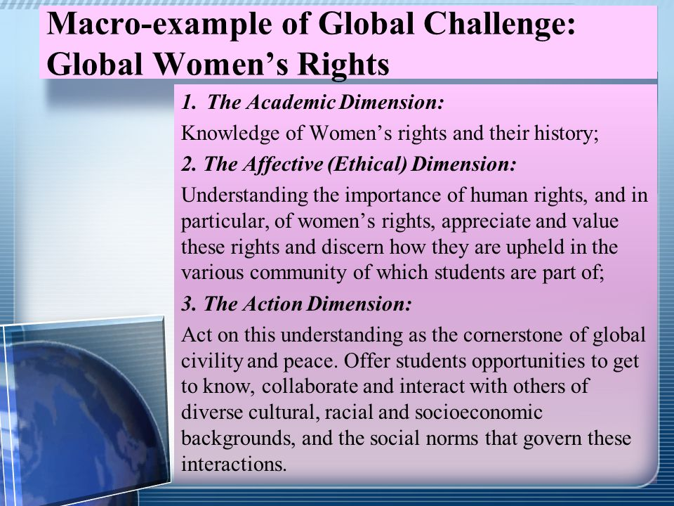 Macro-example of Global Challenge: Global Women's Rights 1.The Academic Dimension: Knowledge of Women's rights and their history; 2. The Affective (Et