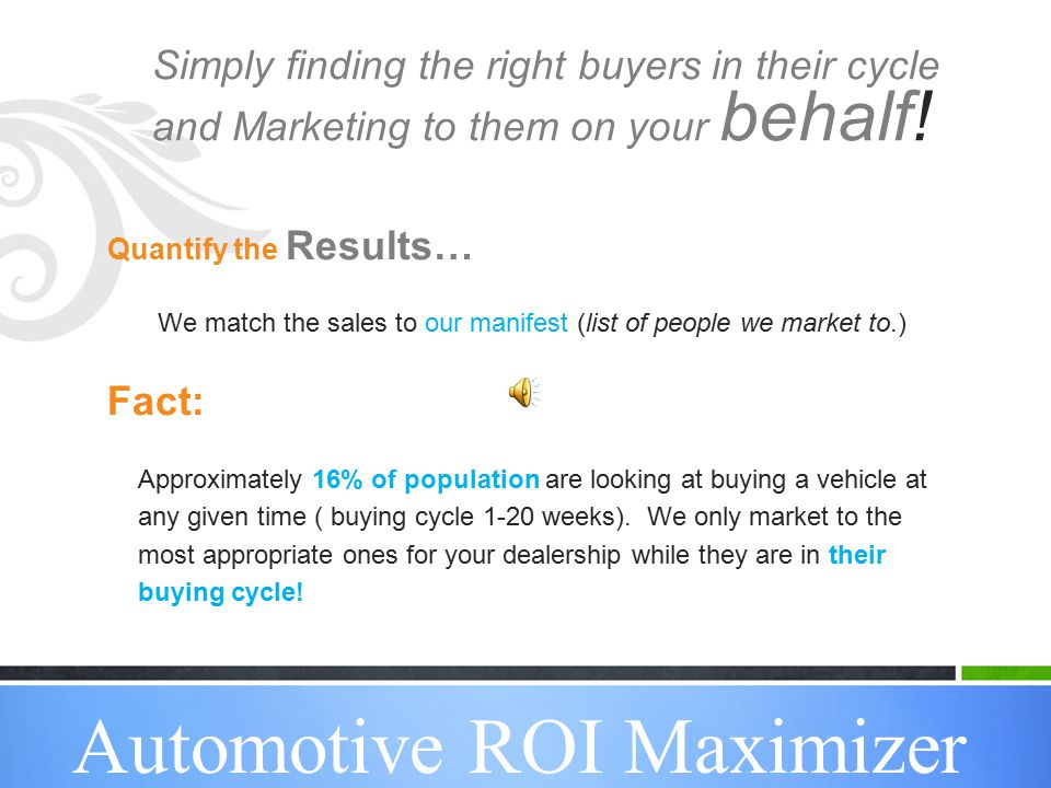 2 What you can expect… American Printing USA Automotive ROI Maximizer