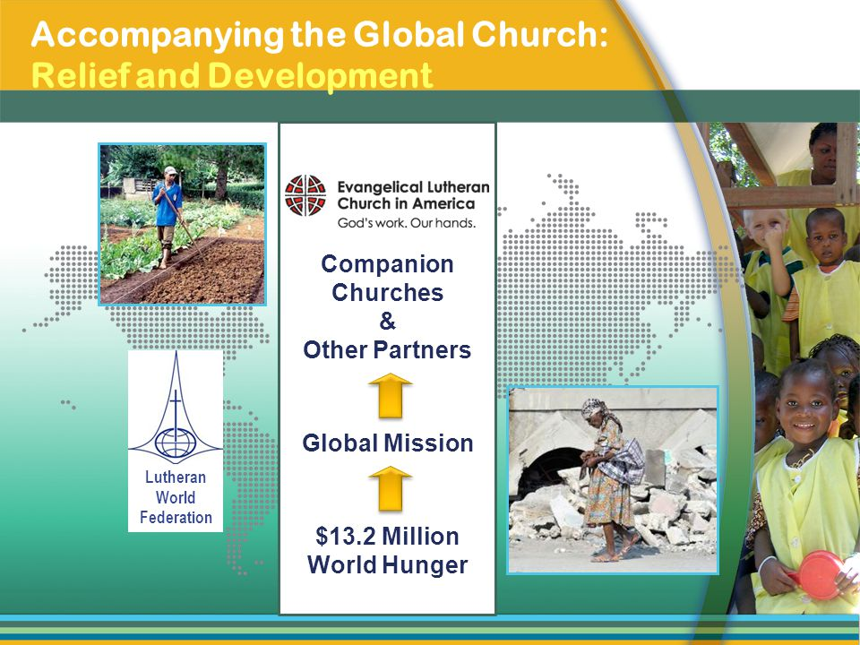 Lutheran World Federation Accompanying the Global Church: Relief and Development Companion Churches & Other Partners Global Mission $13.2 Million Worl