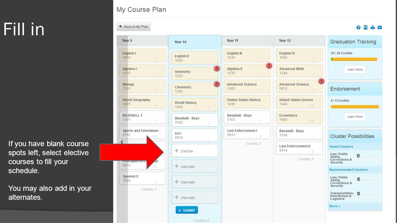 Fill in If you have blank course spots left, select elective courses to fill your schedule. You may also add in your alternates.