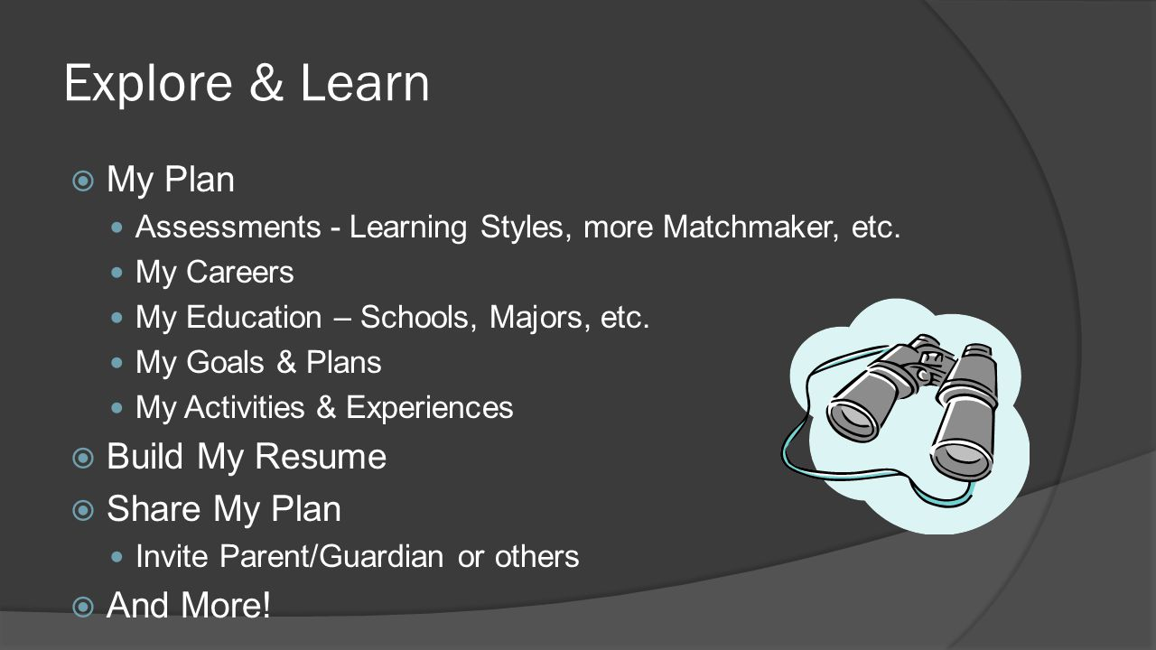 Explore & Learn  My Plan Assessments - Learning Styles, more Matchmaker, etc. My Careers My Education – Schools, Majors, etc. My Goals & Plans My Act