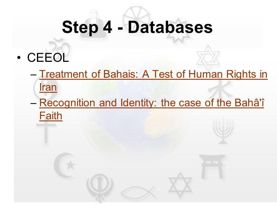 CEEOL –Treatment of Bahais: A Test of Human Rights in IranTreatment of Bahais: A Test of Human Rights in Iran –Recognition and Identity: the case of the Bahâ î FaithRecognition and Identity: the case of the Bahâ î Faith