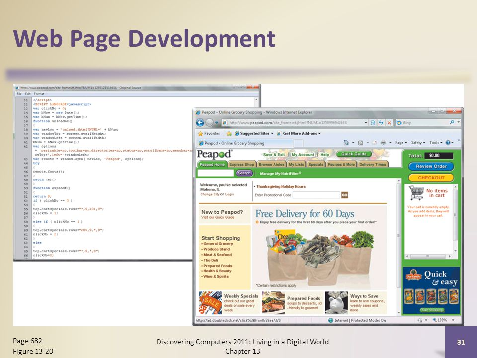 Web Page Development Discovering Computers 2011: Living in a Digital World Chapter 13 31 Page 682 Figure 13-20