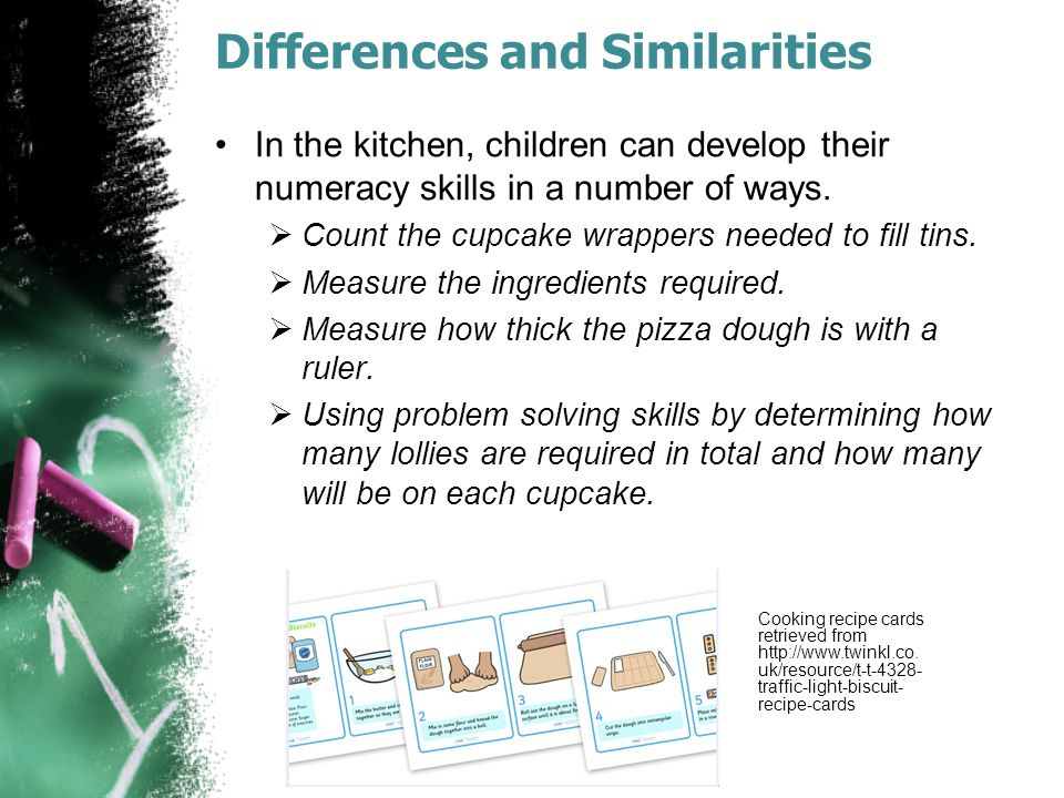 Differences and Similarities Maths is about patterns and rhythm; in music, numeracy helps to count the beat.