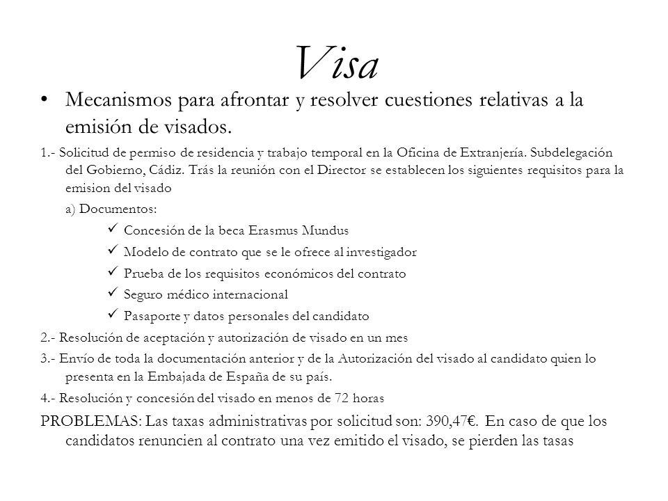 Visa Mecanismos para afrontar y resolver cuestiones relativas a la emisión de visados. 1.- Solicitud de permiso de residencia y trabajo temporal en la