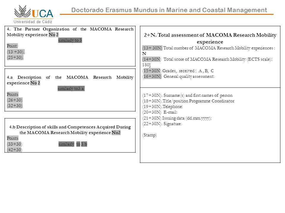 Doctorado Erasmus Mundus in Marine and Coastal Management 4.