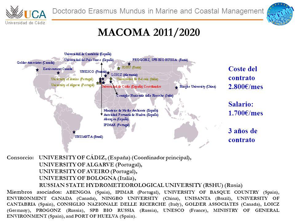 ACCESO AL PERIODO DE INVESTIGACIÓN DEL DOCTORADO ERASMUS MUNDUS IN WATER AND COASTAL MANAGEMENT.