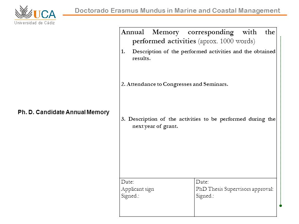 Doctorado Erasmus Mundus in Marine and Coastal Management Ph.