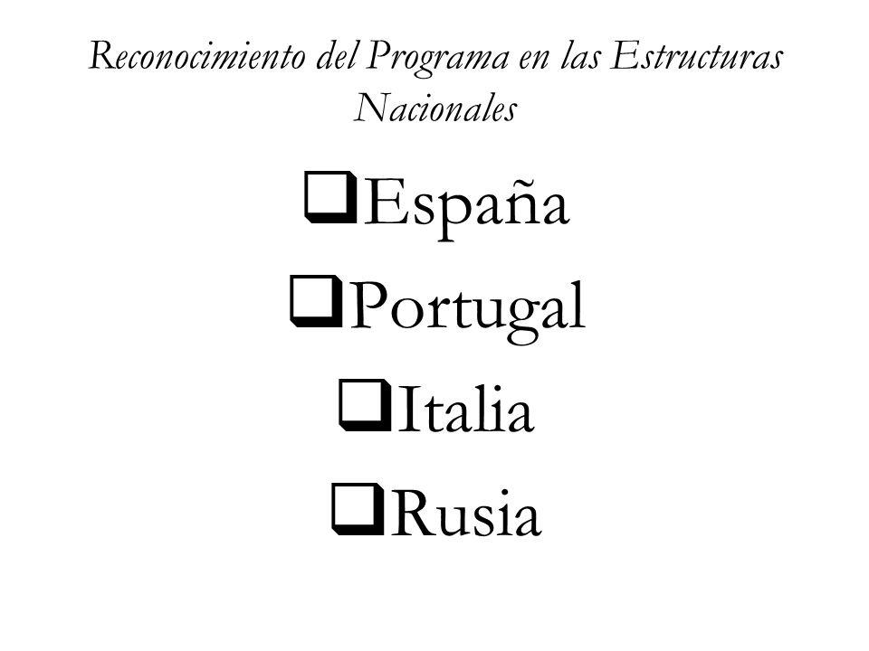 Reconocimiento del Programa en las Estructuras Nacionales  España  Portugal  Italia  Rusia