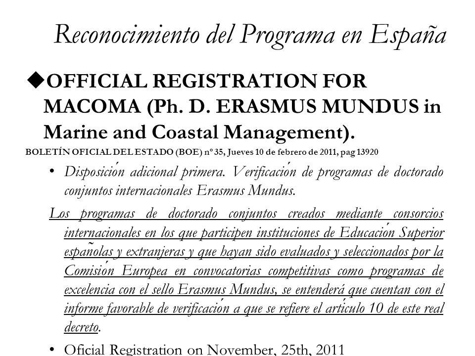 Doctorado Erasmus Mundus in Marine and Coastal Management Passport of Research Mobility Joint Ph.D.