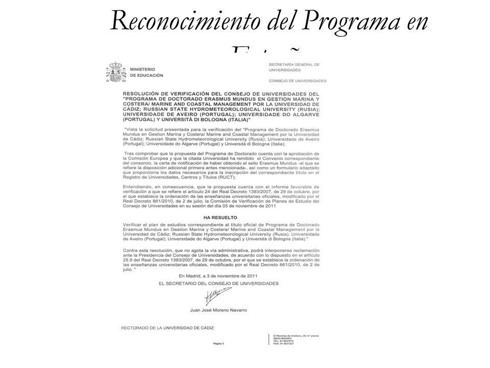 8 Reconocimiento del Programa en Italia