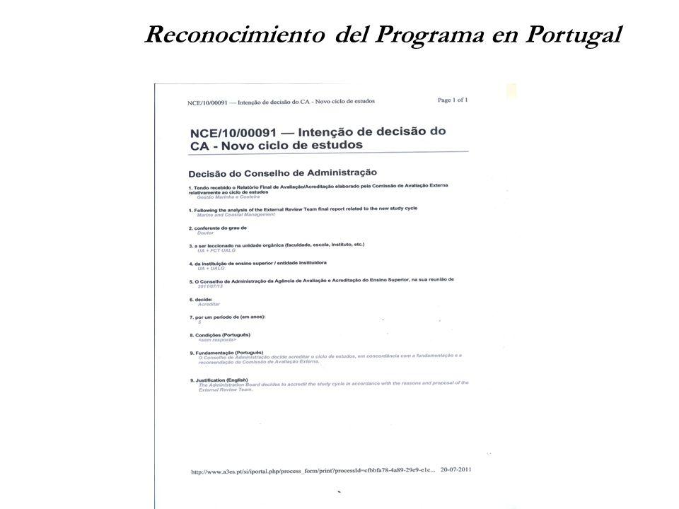 Reconocimiento del Programa en Portugal