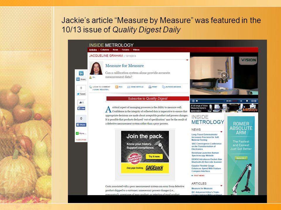 Jackie's article Measure by Measure was featured in the 10/13 issue of Quality Digest Daily