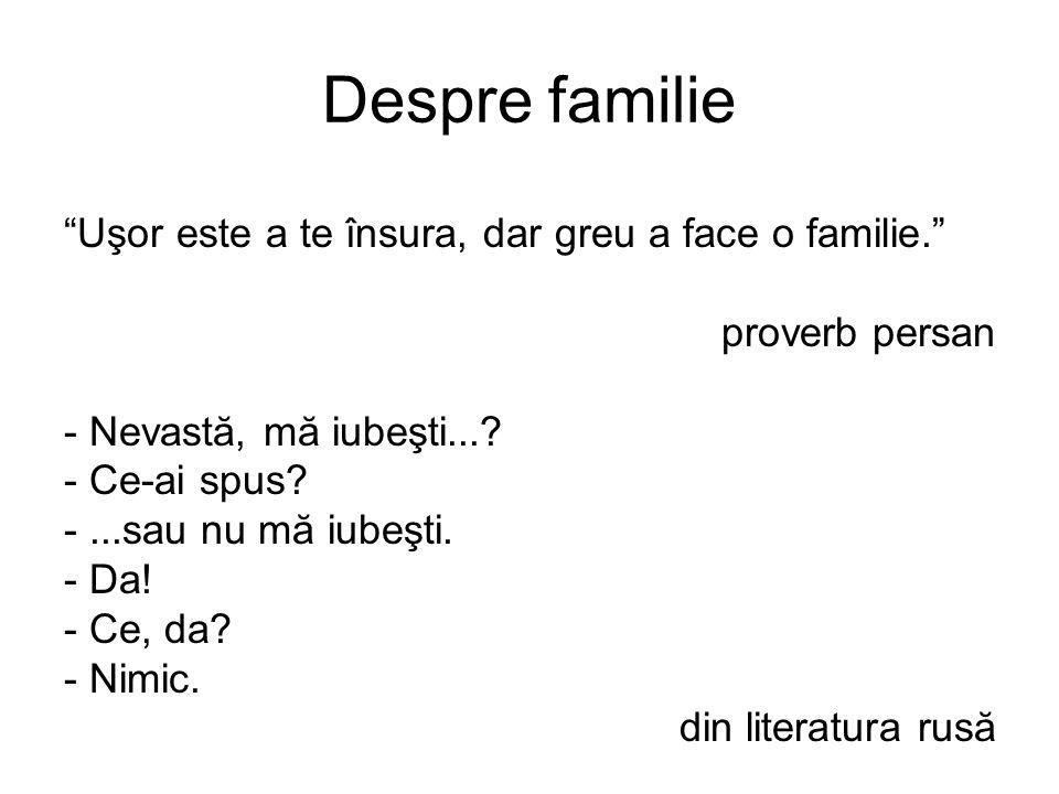 Despre familie Uşor este a te însura, dar greu a face o familie. proverb persan - Nevastă, mă iubeşti....