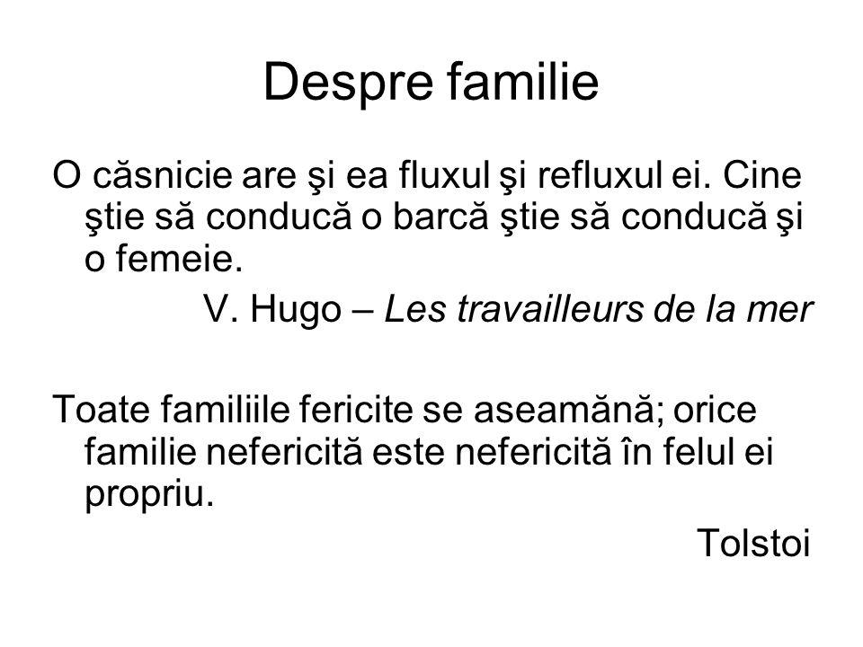 Despre familie O căsnicie are şi ea fluxul şi refluxul ei.