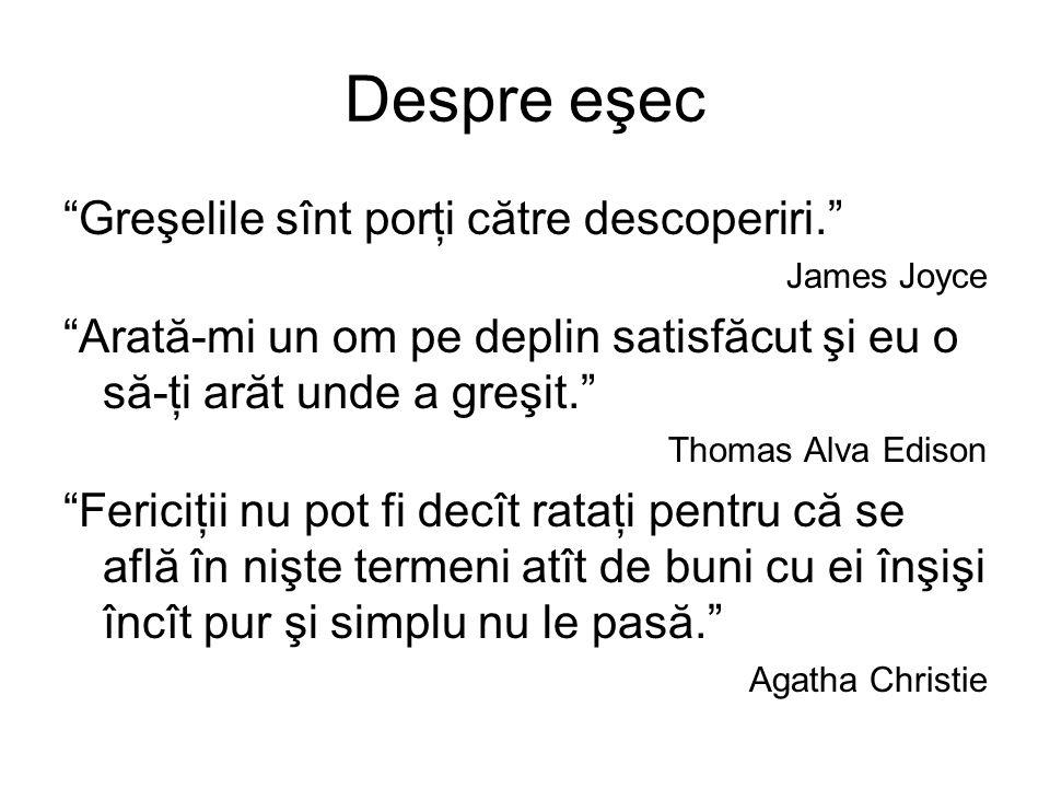 Despre eşec Greşelile sînt porţi către descoperiri. James Joyce Arată-mi un om pe deplin satisfăcut şi eu o să-ţi arăt unde a greşit. Thomas Alva Edison Fericiţii nu pot fi decît rataţi pentru că se află în nişte termeni atît de buni cu ei înşişi încît pur şi simplu nu le pasă. Agatha Christie