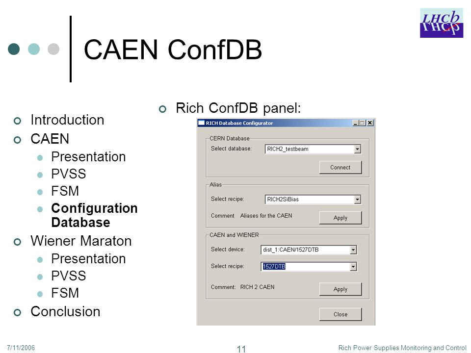 7/11/2006Rich Power Supplies Monitoring and Control 11 CAEN ConfDB Introduction CAEN Presentation PVSS FSM Configuration Database Wiener Maraton Presentation PVSS FSM Conclusion Rich ConfDB panel: