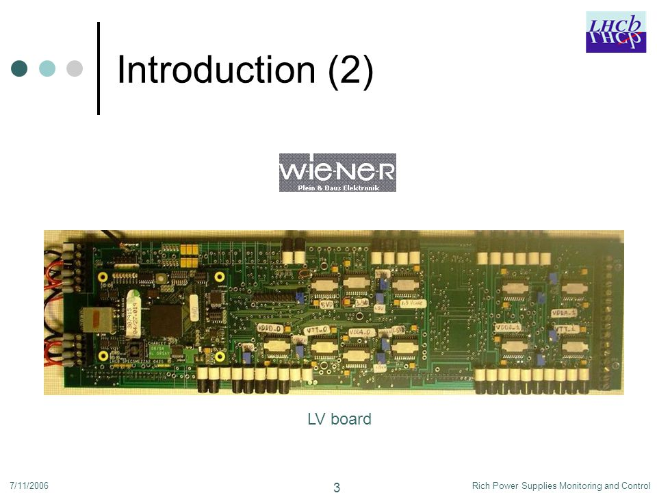 7/11/2006Rich Power Supplies Monitoring and Control 4 Outline Introduction CAEN Presentation PVSS FSM Configuration Database Wiener Maraton Presentation PVSS FSM Conclusion